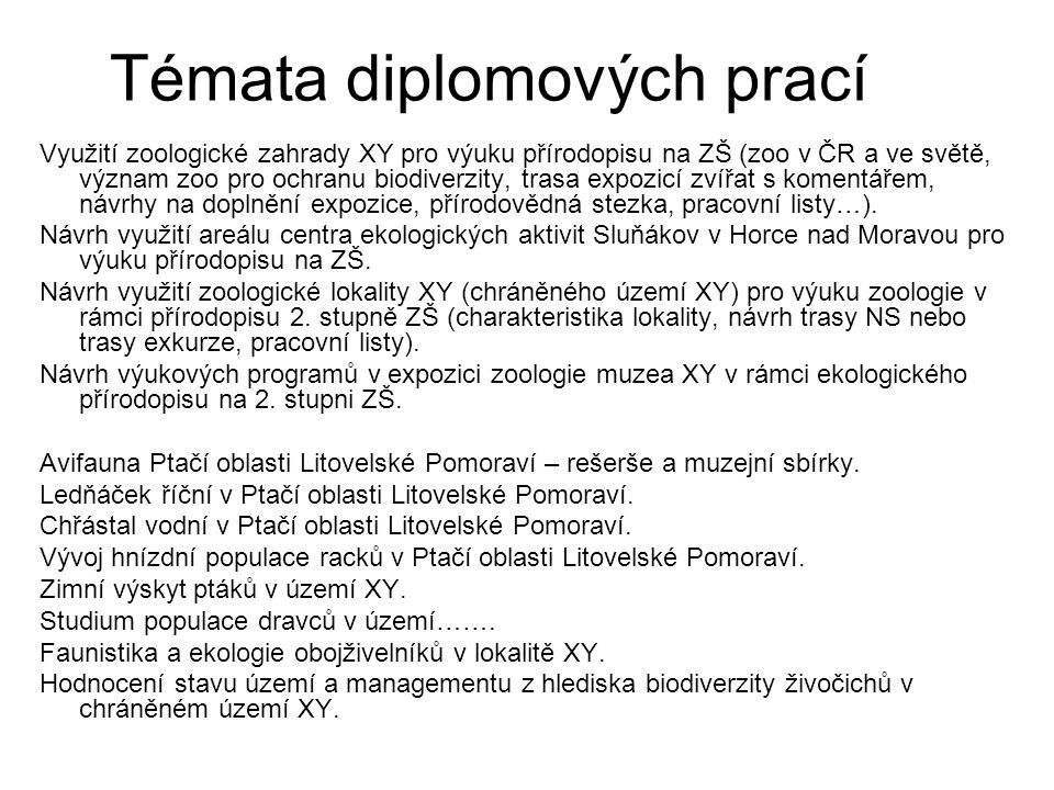 Témata diplomových prací