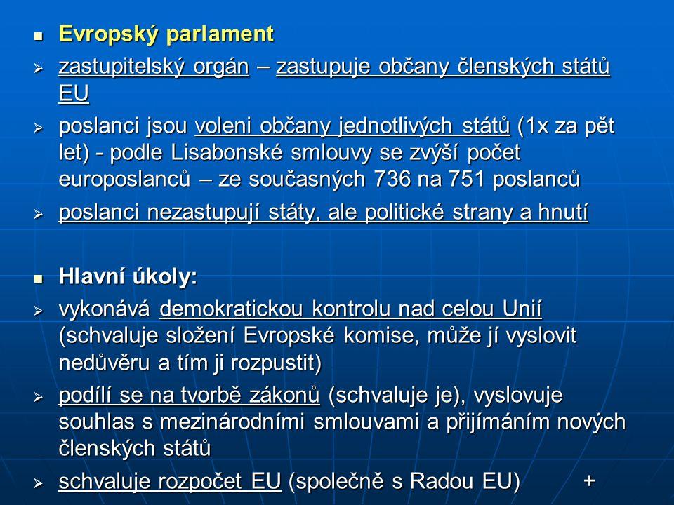 Evropský parlament zastupitelský orgán – zastupuje občany členských států EU.