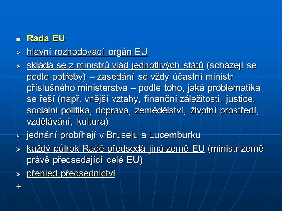 Rada EU hlavní rozhodovací orgán EU.