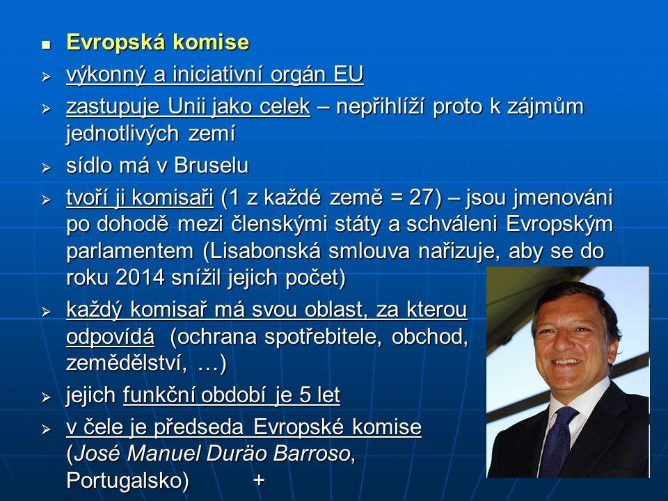 Evropská komise výkonný a iniciativní orgán EU. zastupuje Unii jako celek – nepřihlíží proto k zájmům jednotlivých zemí.