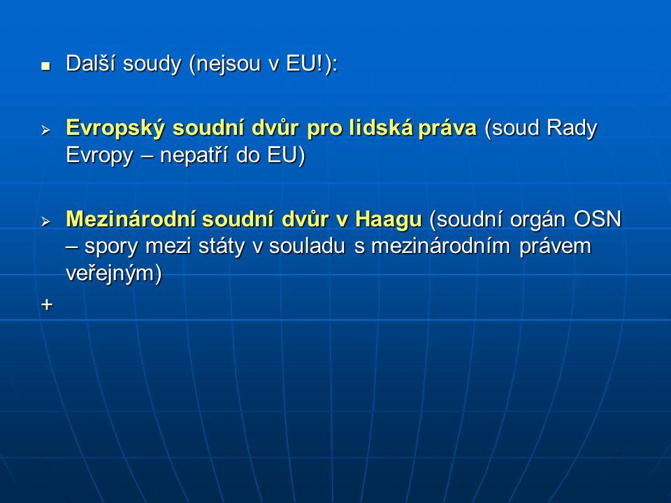 Další soudy (nejsou v EU!):