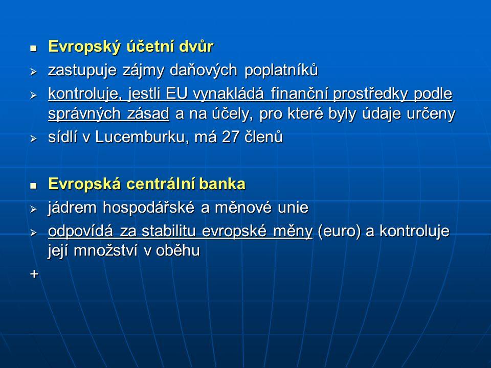 Evropský účetní dvůr zastupuje zájmy daňových poplatníků.