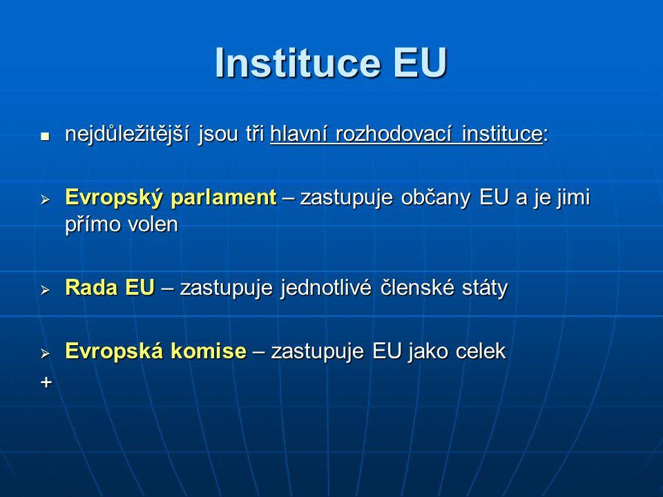 Instituce EU nejdůležitější jsou tři hlavní rozhodovací instituce: