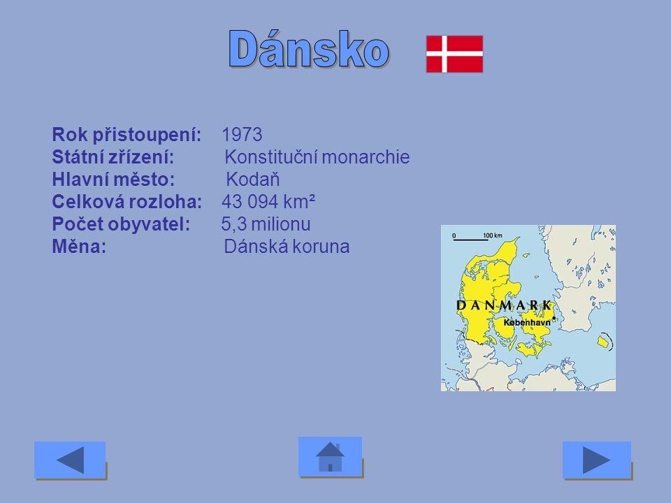Dánsko Rok přistoupení: 1973 Státní zřízení: Konstituční monarchie