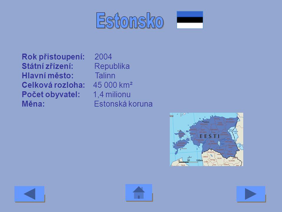 Estonsko Rok přistoupení: 2004 Státní zřízení: Republika