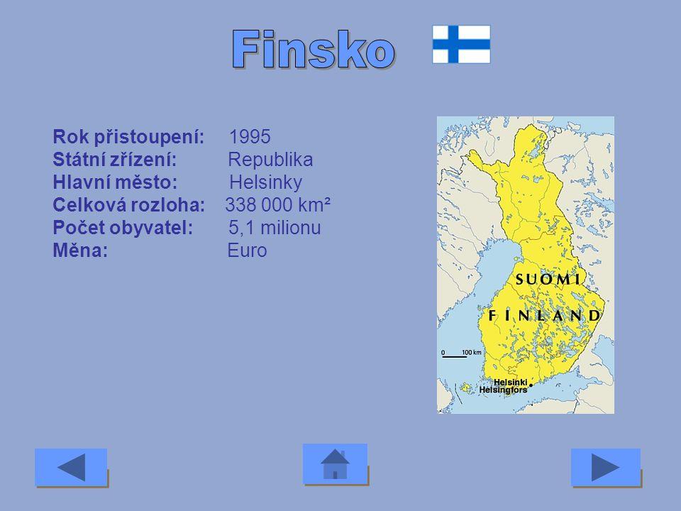 Finsko Rok přistoupení: 1995 Státní zřízení: Republika