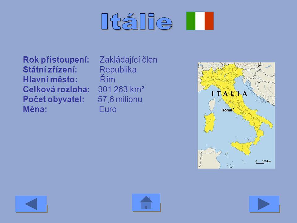 Itálie Rok přistoupení: Zakládající člen Státní zřízení: Republika