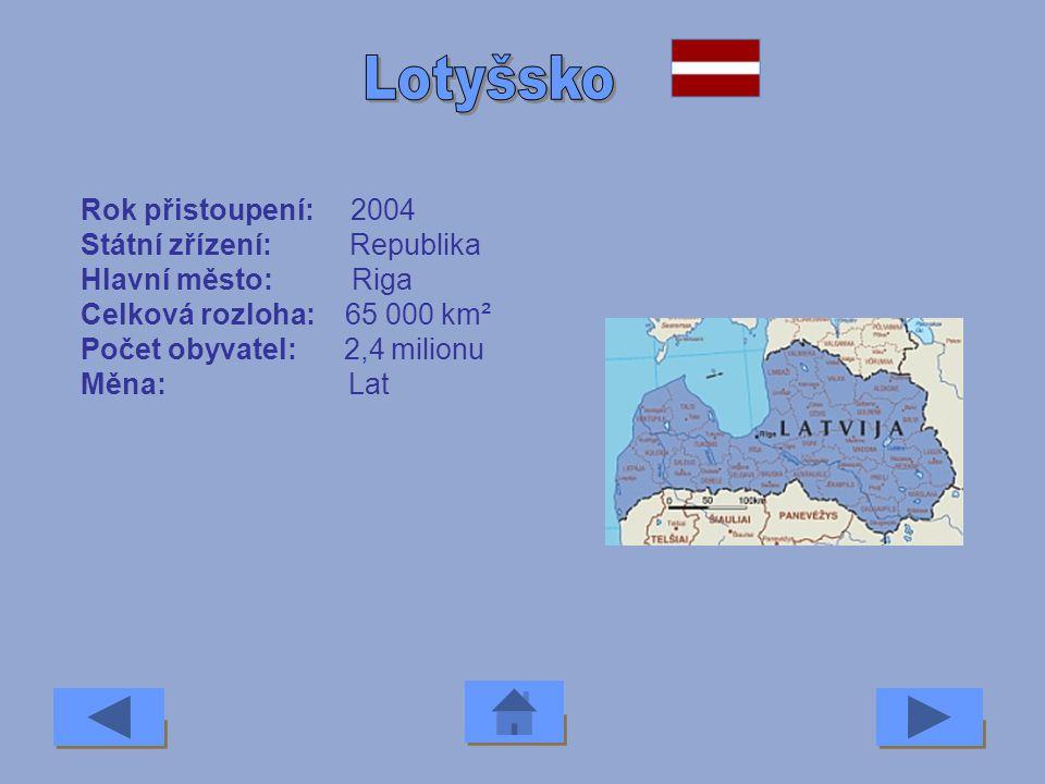 Lotyšsko Rok přistoupení: 2004 Státní zřízení: Republika