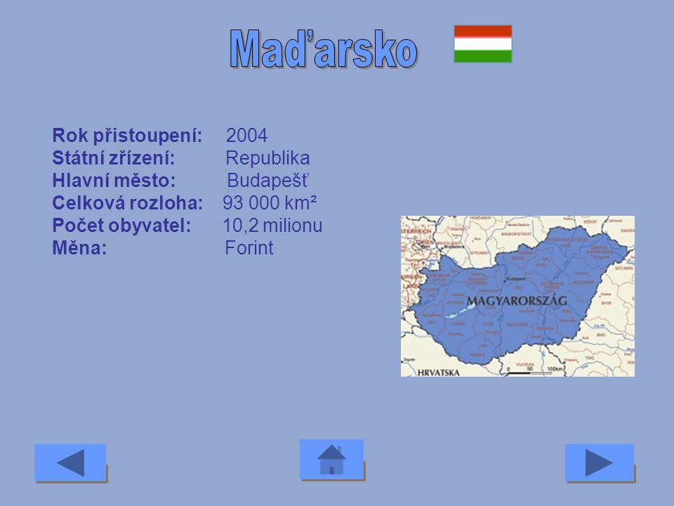 Maďarsko Rok přistoupení: 2004 Státní zřízení: Republika