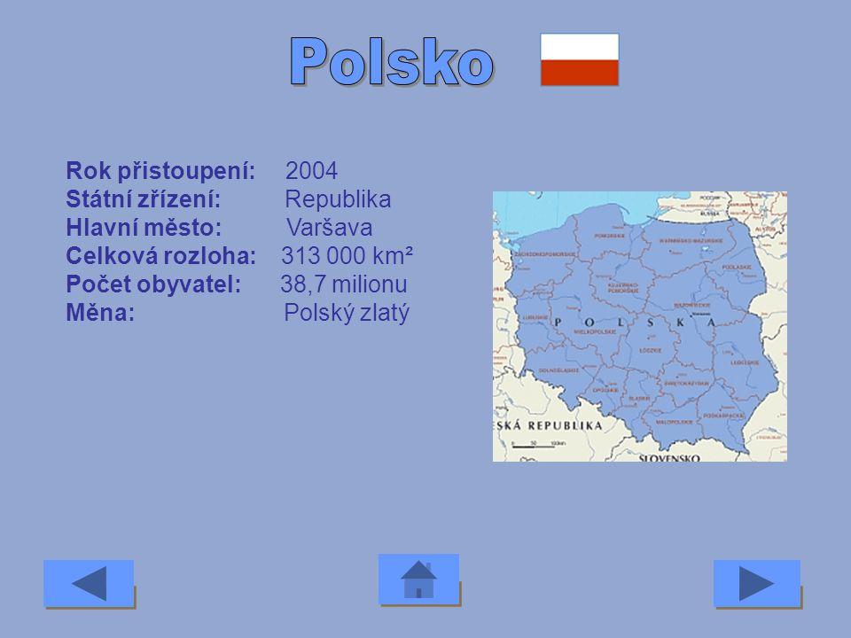 Polsko Rok přistoupení: 2004 Státní zřízení: Republika