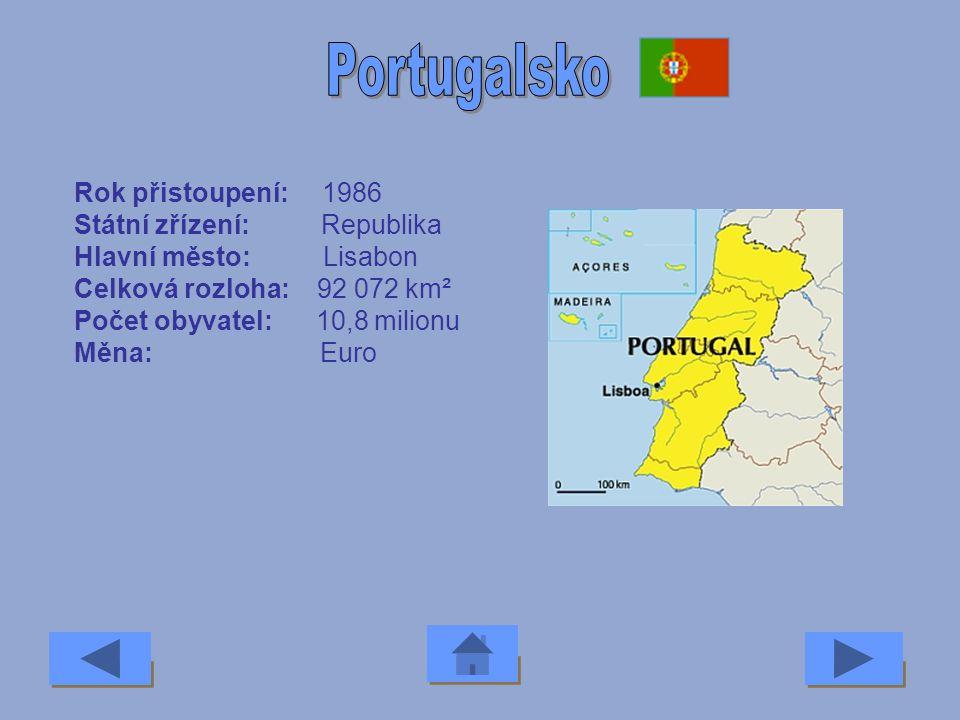 Portugalsko Rok přistoupení: 1986 Státní zřízení: Republika