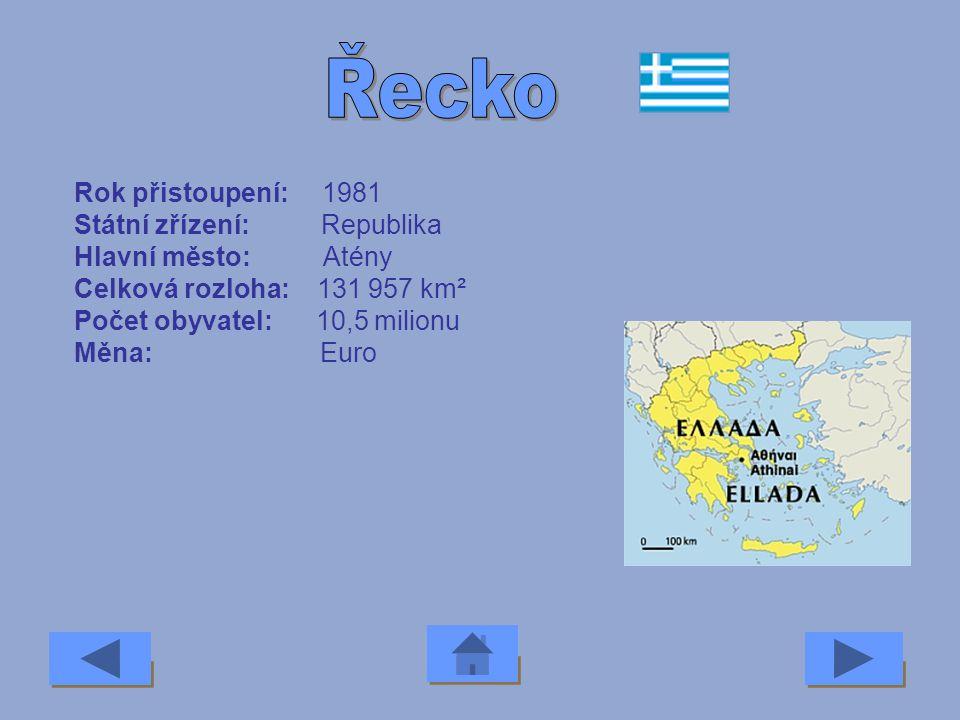 Řecko Rok přistoupení: 1981 Státní zřízení: Republika