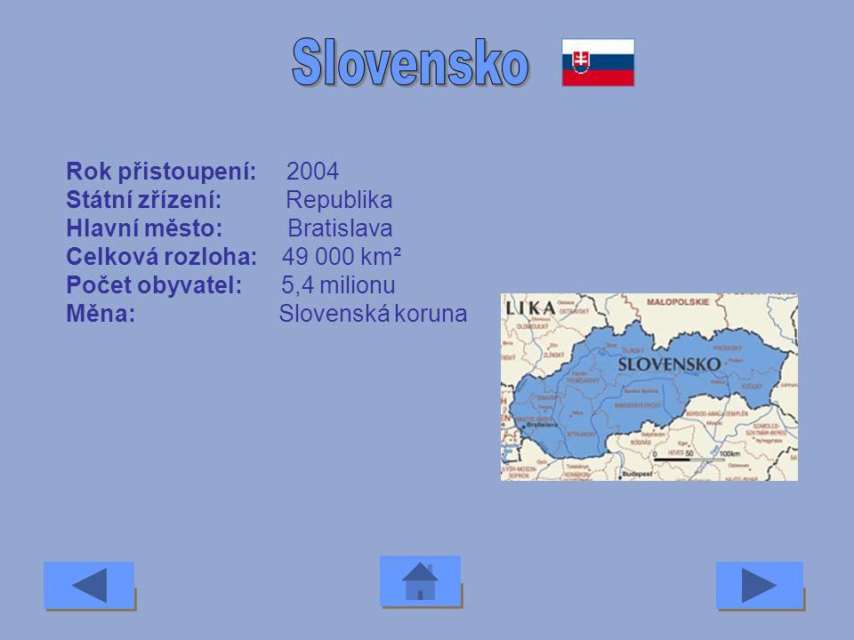 Slovensko Rok přistoupení: 2004 Státní zřízení: Republika