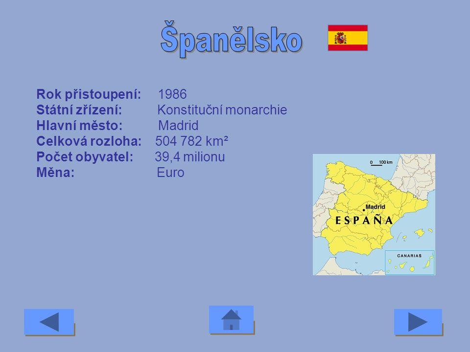 Španělsko Rok přistoupení: 1986 Státní zřízení: Konstituční monarchie