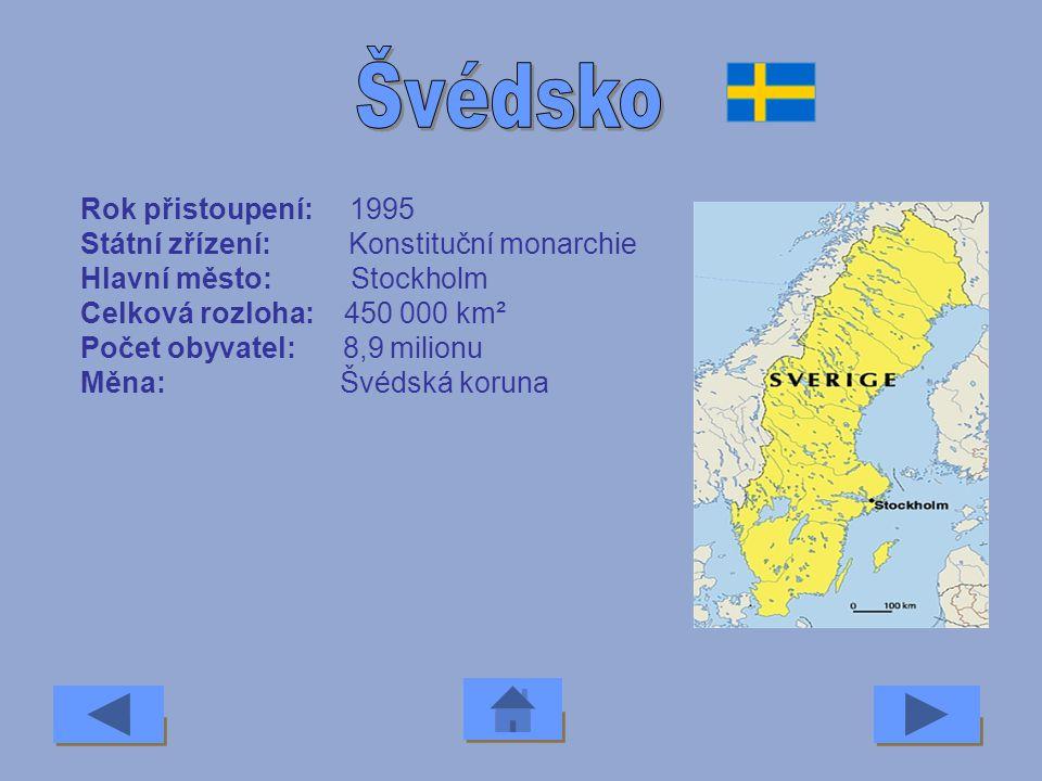 Švédsko Rok přistoupení: 1995 Státní zřízení: Konstituční monarchie