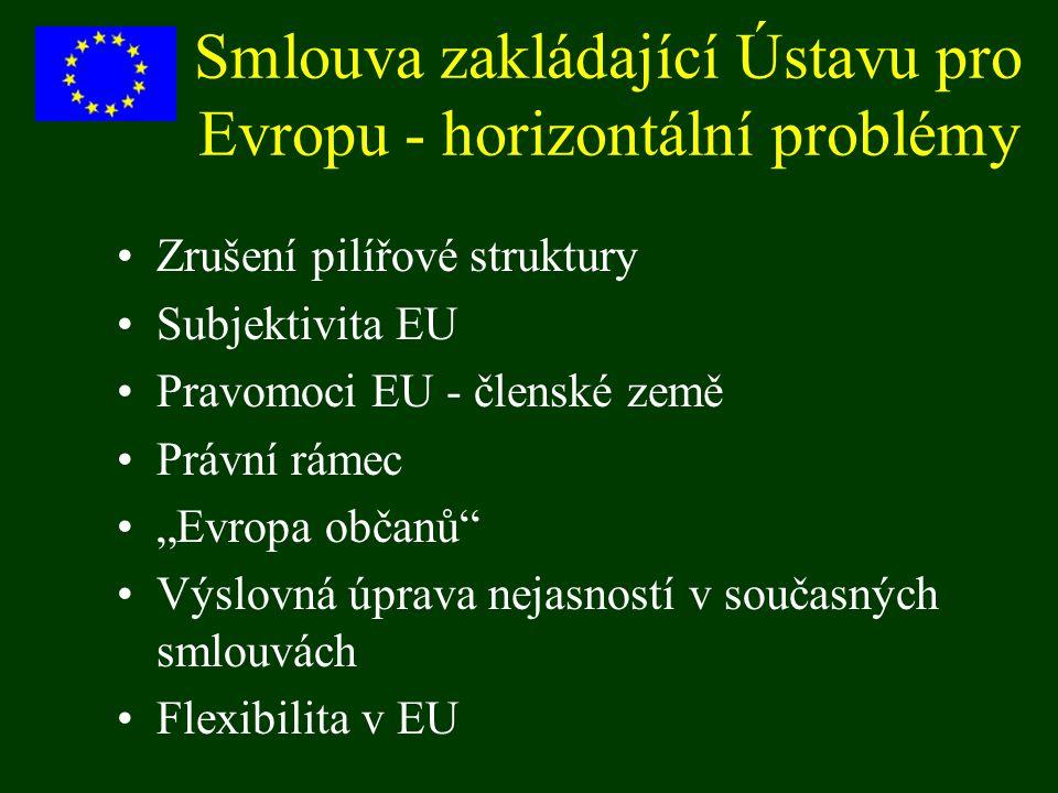 Smlouva zakládající Ústavu pro Evropu - horizontální problémy