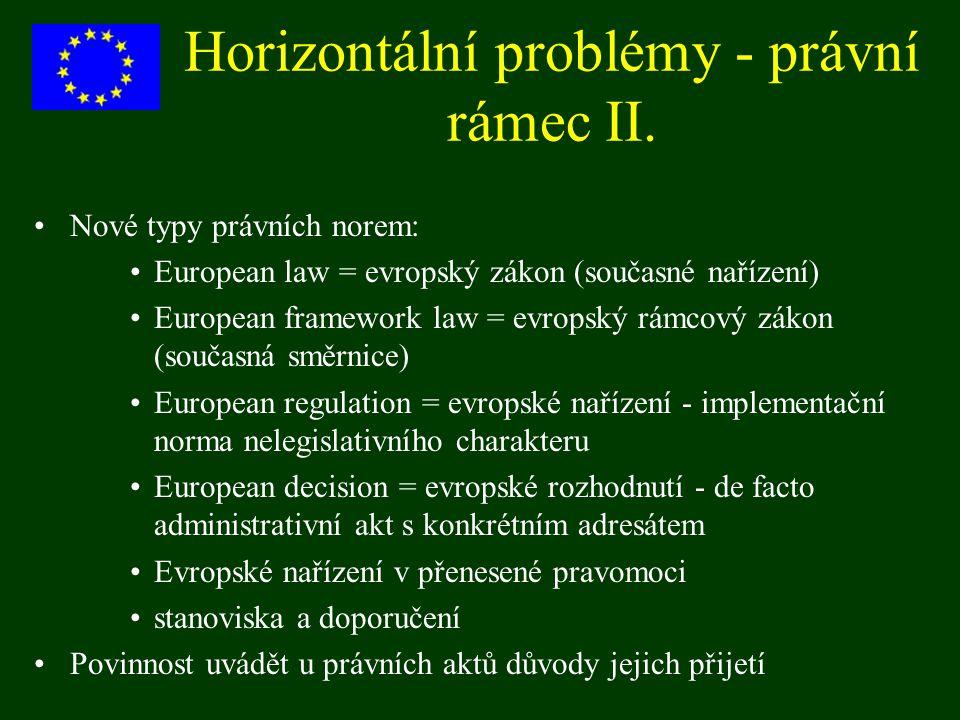 Horizontální problémy - právní rámec II.