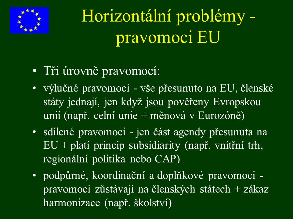 Horizontální problémy - pravomoci EU