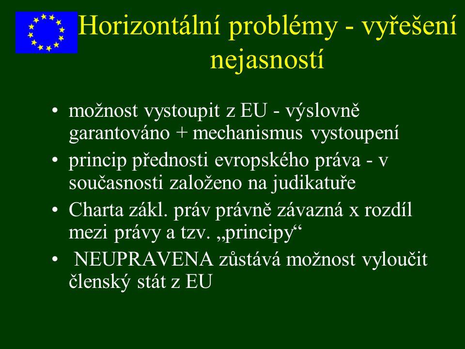 Horizontální problémy - vyřešení nejasností