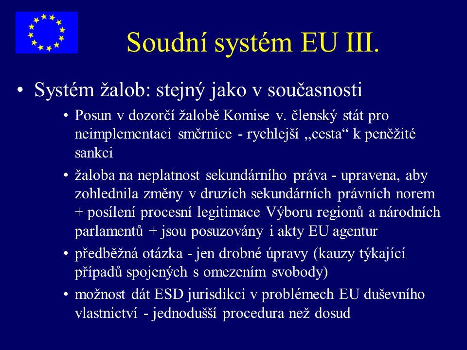 Soudní systém EU III. Systém žalob: stejný jako v současnosti