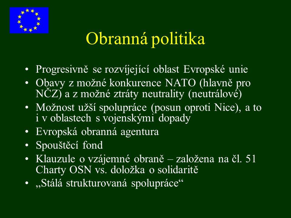 Obranná politika Progresivně se rozvíjející oblast Evropské unie