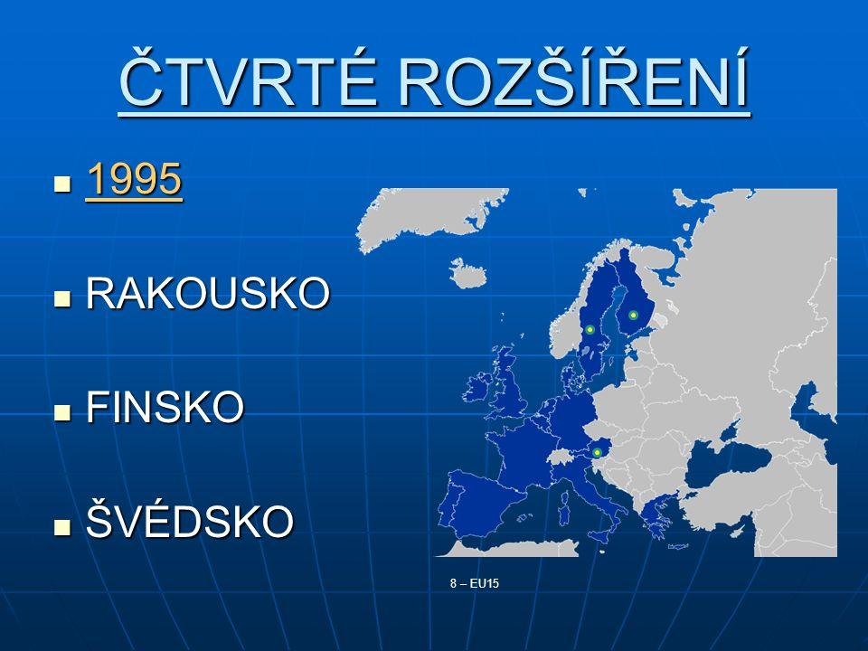 ČTVRTÉ ROZŠÍŘENÍ 1995 RAKOUSKO FINSKO ŠVÉDSKO 8 – EU15