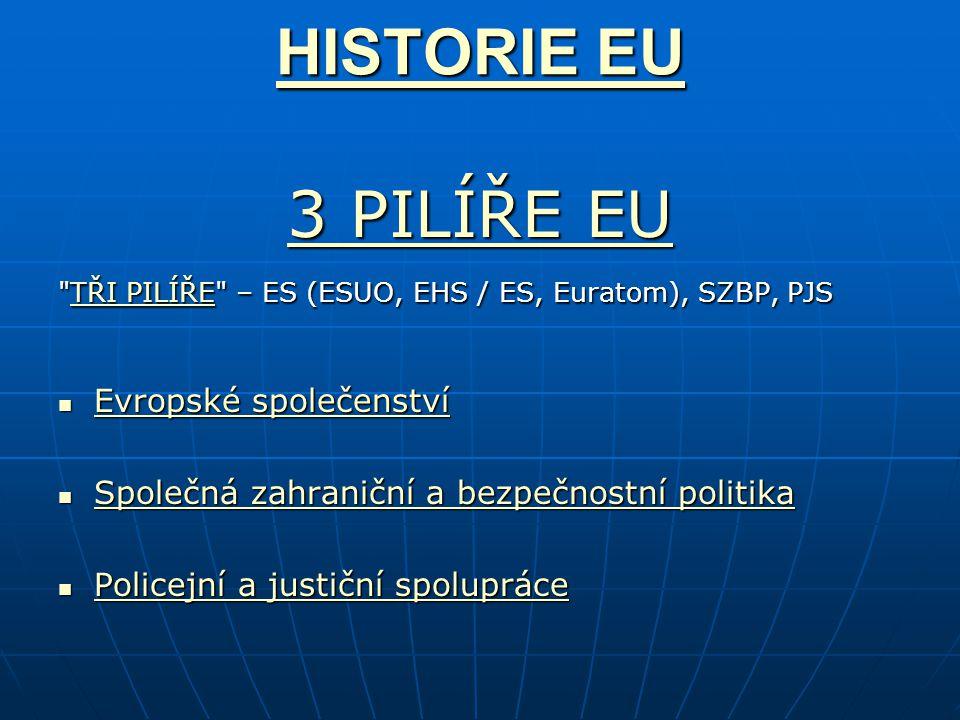 HISTORIE EU 3 PILÍŘE EU Evropské společenství