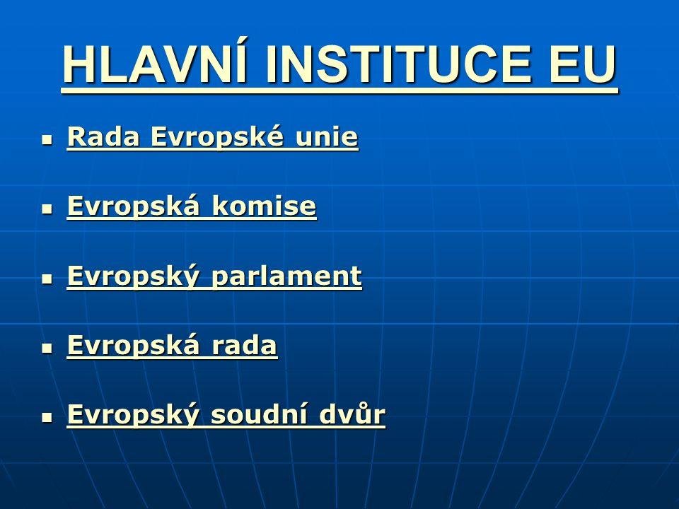 HLAVNÍ INSTITUCE EU Rada Evropské unie Evropská komise