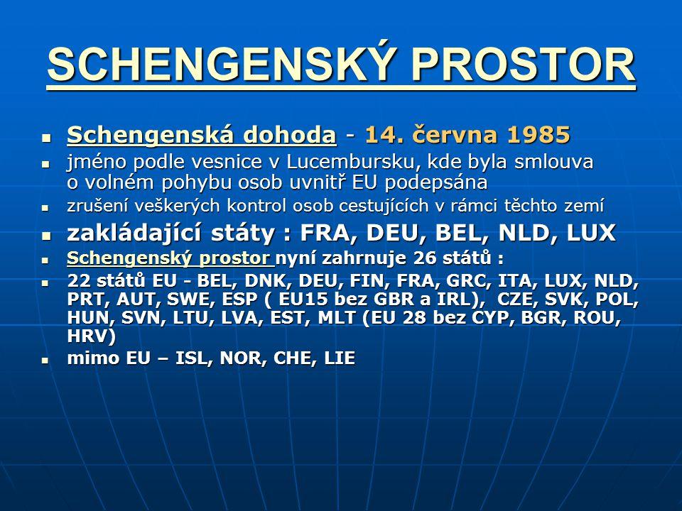 SCHENGENSKÝ PROSTOR Schengenská dohoda - 14. června 1985