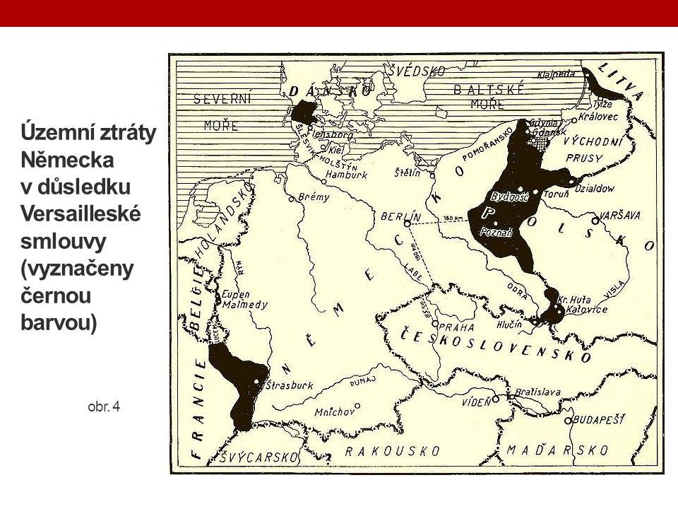 Územní ztráty Německa v důsledku Versailleské smlouvy (vyznačeny černou barvou) obr. 4