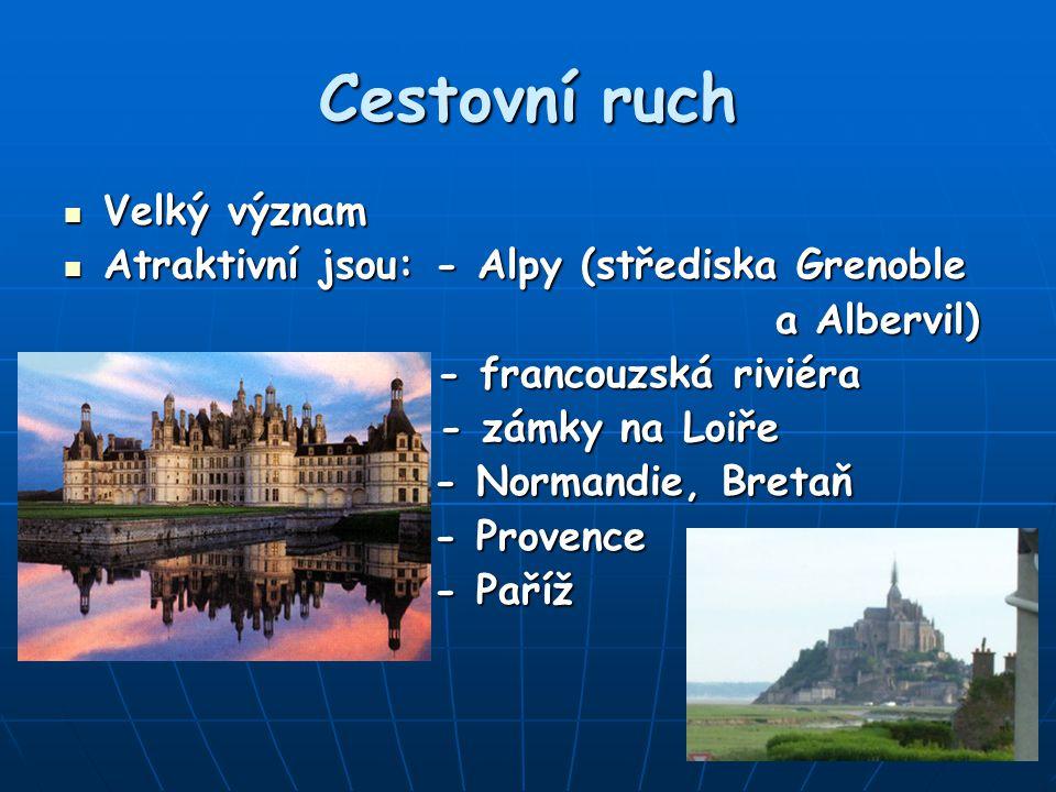 Cestovní ruch Velký význam Atraktivní jsou: - Alpy (střediska Grenoble