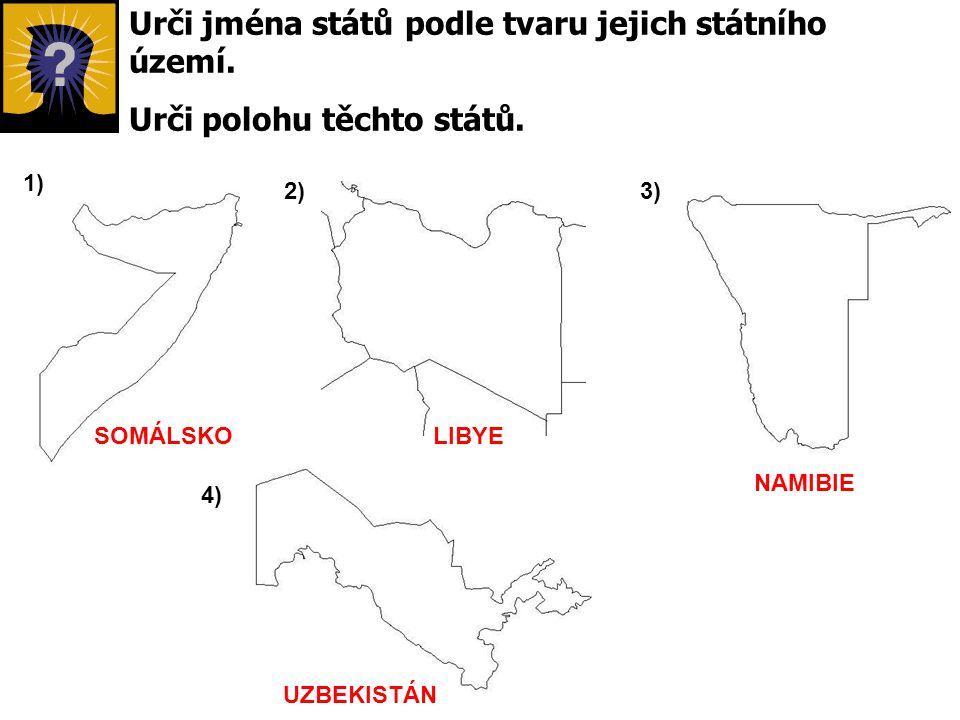 Urči jména států podle tvaru jejich státního území.