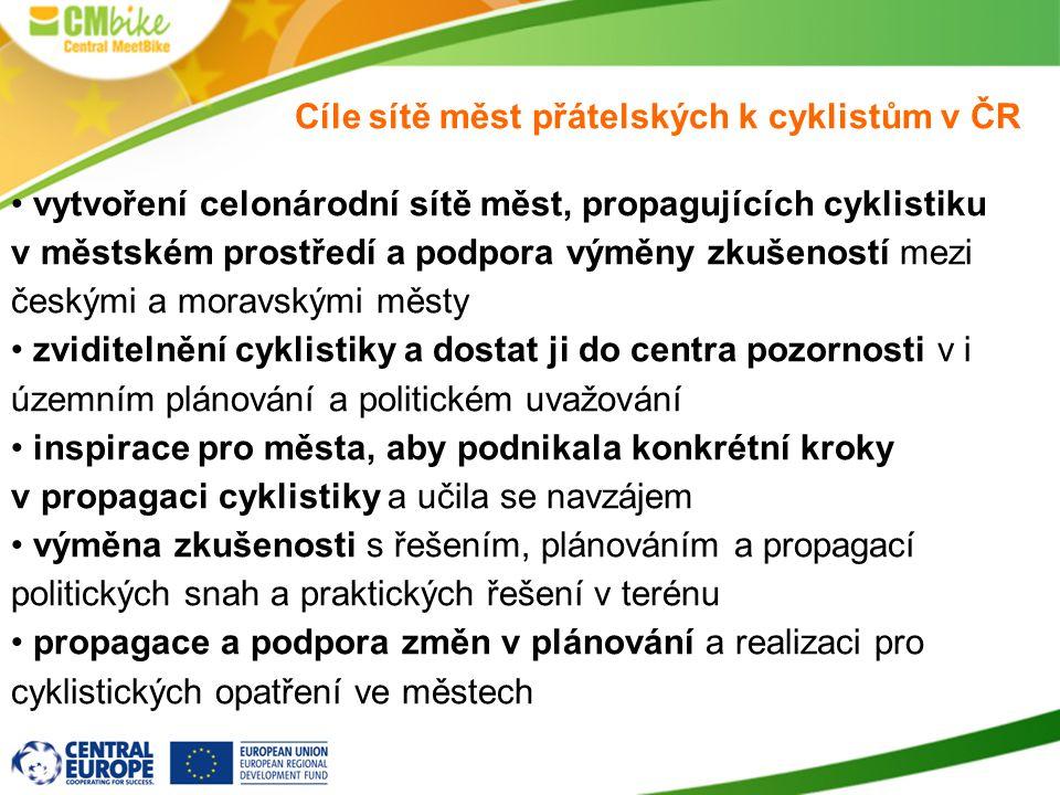 Cíle sítě měst přátelských k cyklistům v ČR