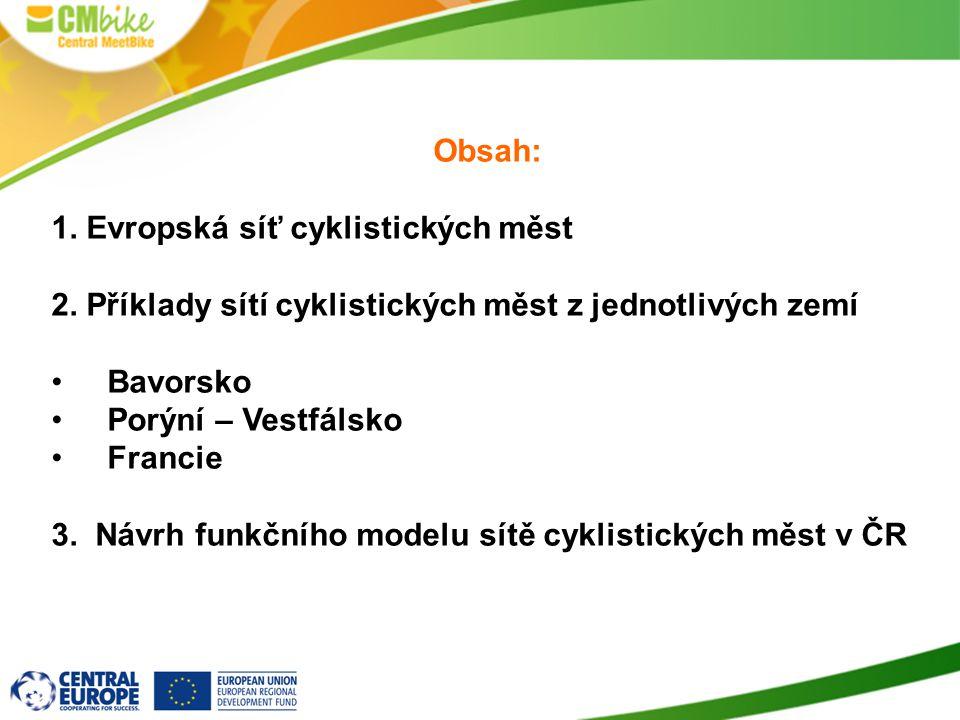Obsah: 1. Evropská síť cyklistických měst. 2. Příklady sítí cyklistických měst z jednotlivých zemí.