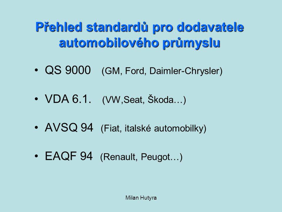 Přehled standardů pro dodavatele automobilového průmyslu