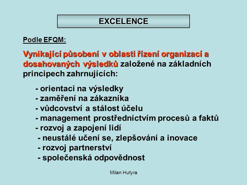 EXCELENCE Podle EFQM: Vynikající působení v oblasti řízení organizací a dosahovaných výsledků založené na základních principech zahrnujících: