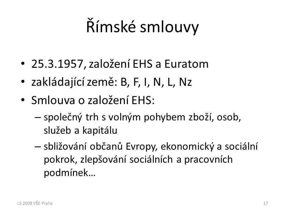 Římské smlouvy 25.3.1957, založení EHS a Euratom