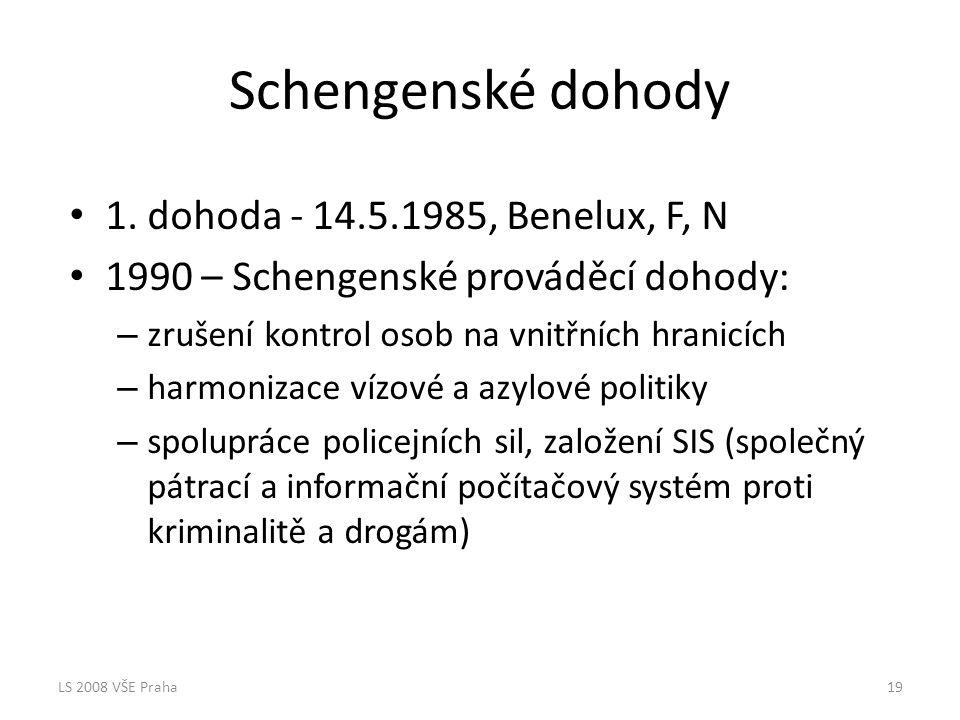 Schengenské dohody 1. dohoda - 14.5.1985, Benelux, F, N