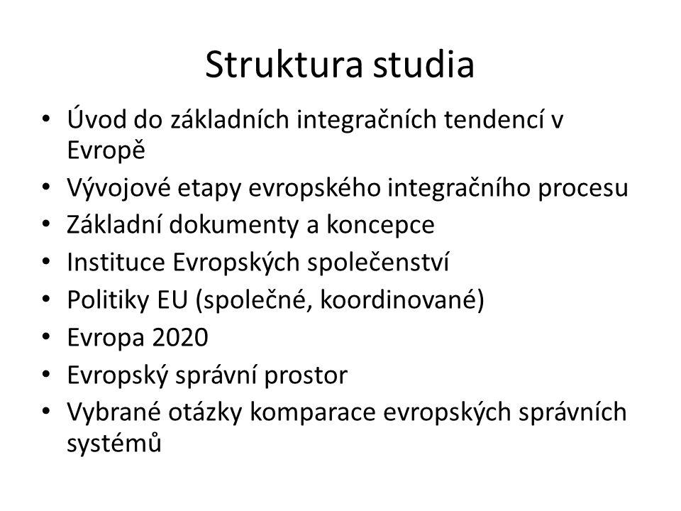 Struktura studia Úvod do základních integračních tendencí v Evropě