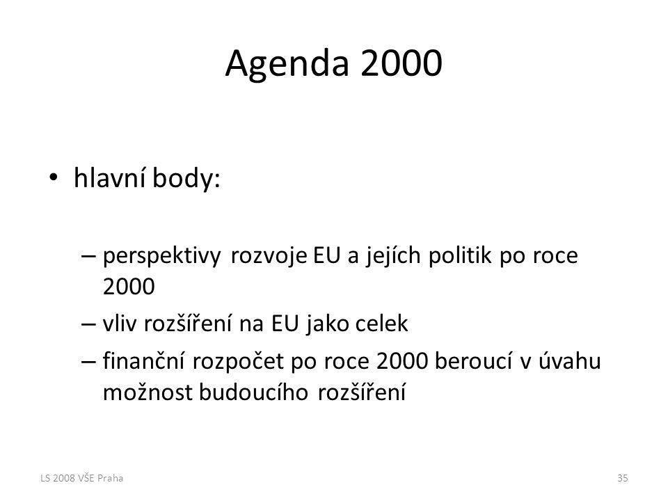 Agenda 2000 hlavní body: perspektivy rozvoje EU a jejích politik po roce 2000. vliv rozšíření na EU jako celek.