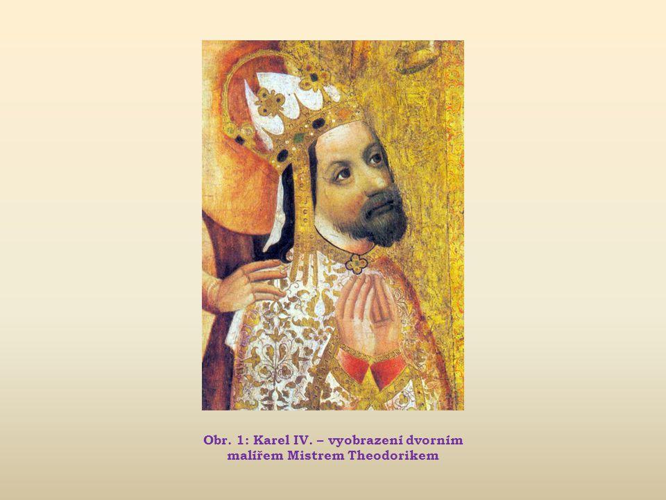 Obr. 1: Karel IV. – vyobrazení dvorním malířem Mistrem Theodorikem