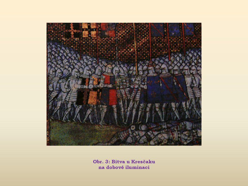 Obr. 3: Bitva u Kresčaku na dobové iluminaci