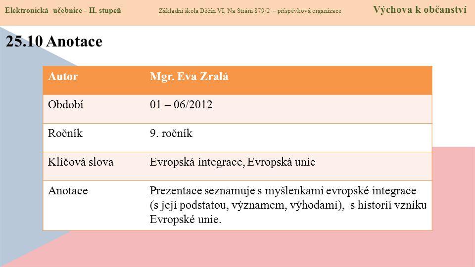 25.10 Anotace Autor Mgr. Eva Zralá Období 01 – 06/2012 Ročník