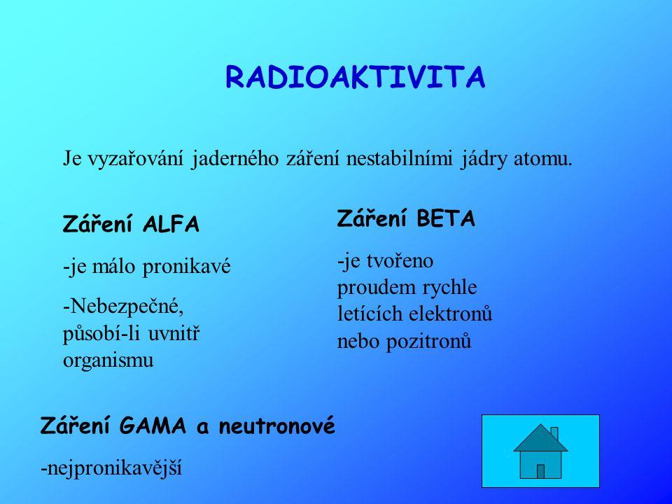 RADIOAKTIVITA Je vyzařování jaderného záření nestabilními jádry atomu.