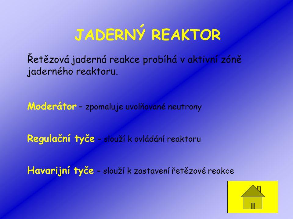 JADERNÝ REAKTOR Řetězová jaderná reakce probíhá v aktivní zóně jaderného reaktoru. Moderátor – zpomaluje uvolňované neutrony.