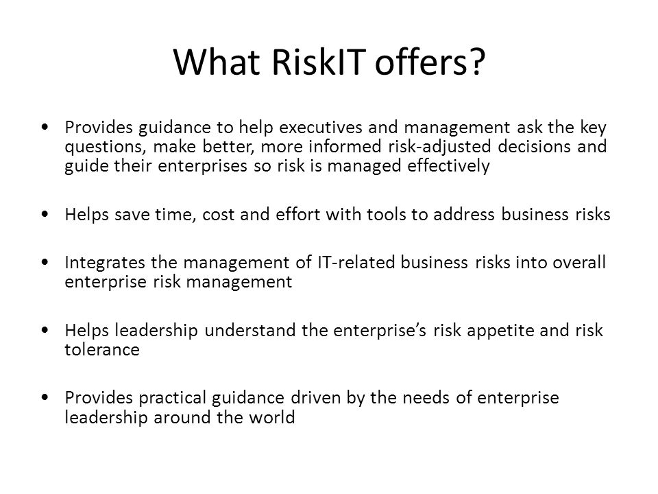 What RiskIT offers