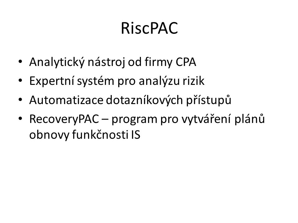 RiscPAC Analytický nástroj od firmy CPA