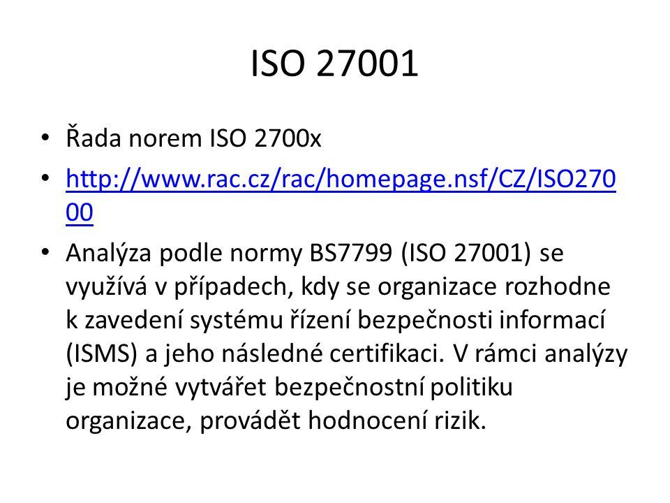ISO 27001 Řada norem ISO 2700x. http://www.rac.cz/rac/homepage.nsf/CZ/ISO27000.