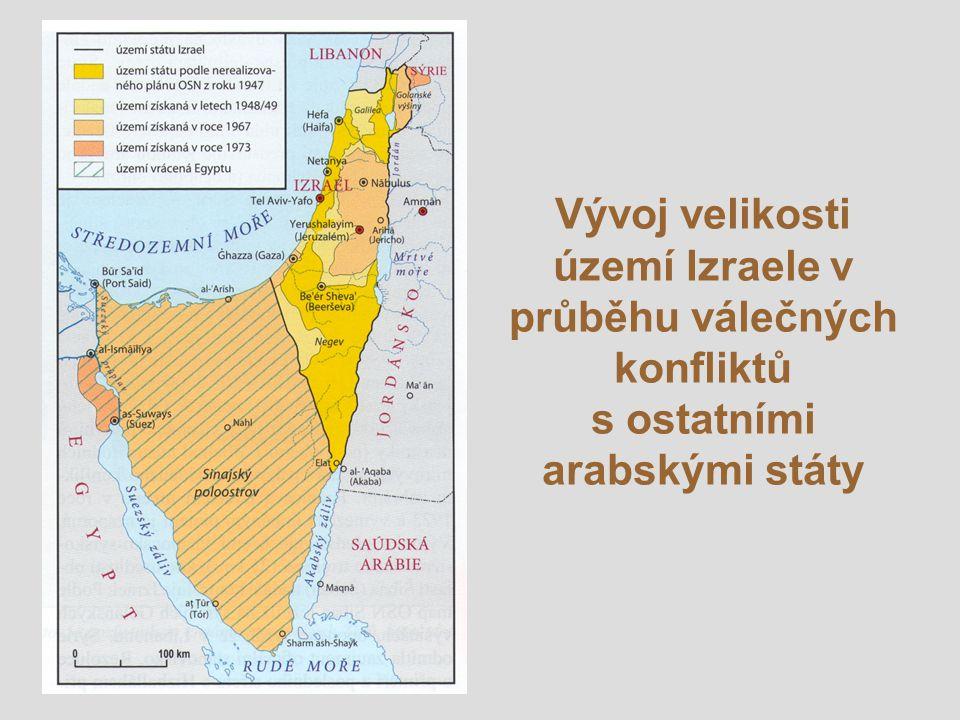 Vývoj velikosti území Izraele v průběhu válečných konfliktů s ostatními arabskými státy