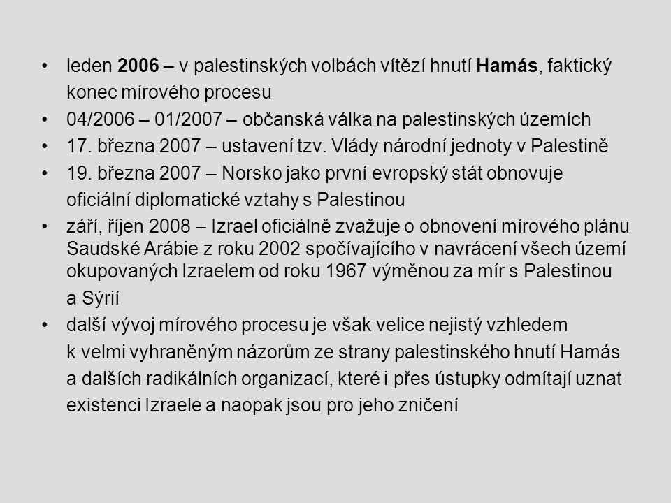 leden 2006 – v palestinských volbách vítězí hnutí Hamás, faktický